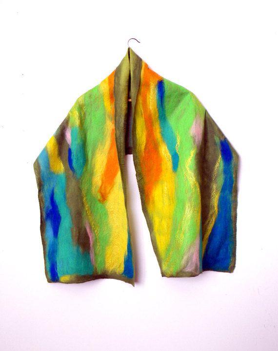 Nunofelted scarf silk wool women scarf Mothers day gift spring scarf brignt green scarf  Handmade Ready to Ship