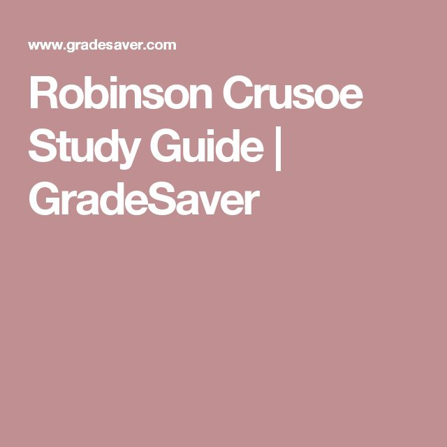 Good thesis for robinson crusoe