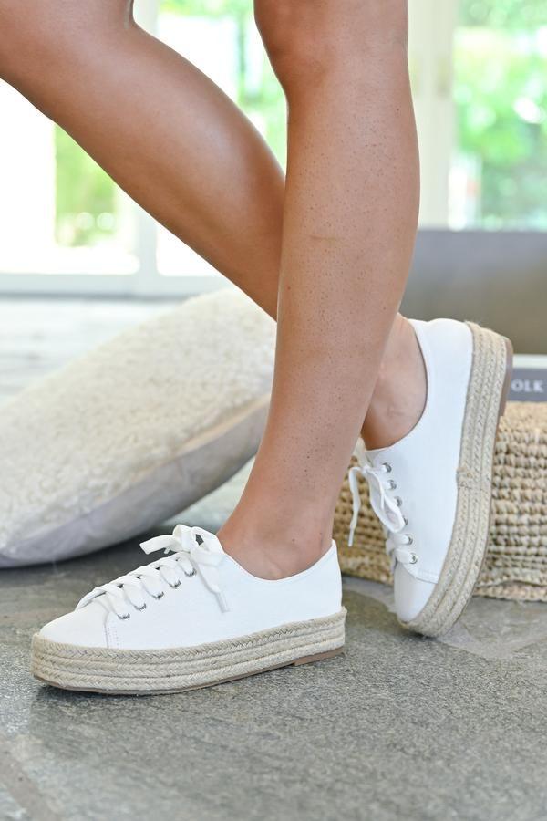 white espadrille platform sneakers