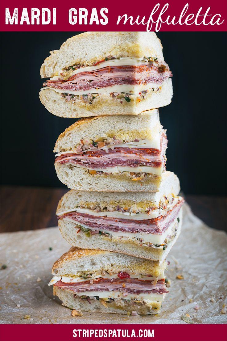 Muffuletta Sandwich | Muffuletta Recipe | Sandwiches | Sandwich Recipes | Mardi Gras Party | Mardi Gras Recipes