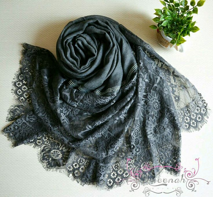 🍄Magdalena Lace Scarf ( grey) 🍄Material : Polyester+lace Exclusive Import 🍄Ukuran : 190x90 cm 🍄IDR 150.000  For order Line@ameenah_hijab BBM 598B233D Shipping : Bandung