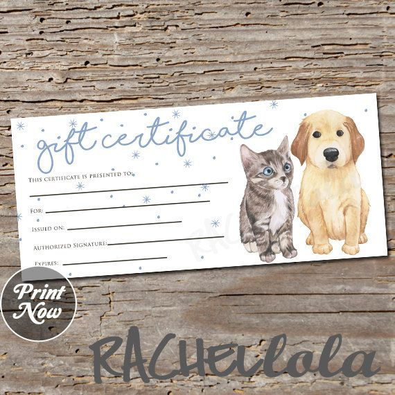 Printable Pet Gift Certificate Template Dog Cat Groomer Thank You Gift Vet Photography Card Veterinar In 2020 Gift Certificate Template Pet Gift Card Photography