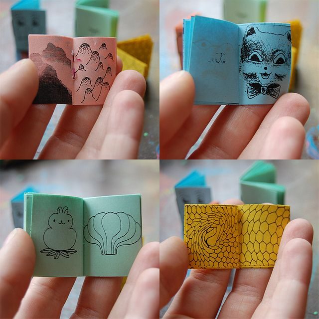 tiny books, this is my kind of craft. Useless but cute anyway.