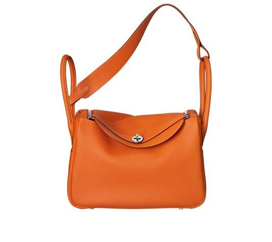 """Lindy - in another colour! Hermes bag in orange taurillon clemence calfskin leather Measures 13.5""""x 8"""" x 7"""". Shoulder strap and handstrap. Silver and palladium hardware."""