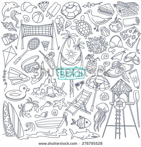 Beach theme doodle set. Various seaside sport activities and relaxation - surfing, beach volley, diving, swimming, sun tanning. Wildlife of the coast - seagull, crab, shark, jellyfish, seashells  - stock vector