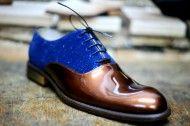 Elegant shoes brilliant blue and brown varnish