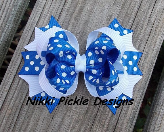 Blue and White Polka Dot Hair Bow by NikkiPickleDesigns on Etsy