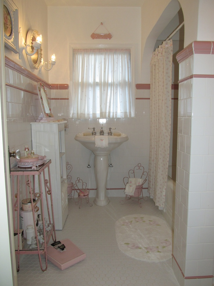 Pink and white bathroom.  Cindy Brown Design