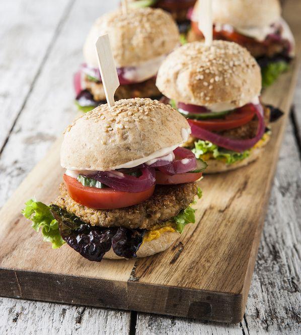 Vegetarburger med linsebøf