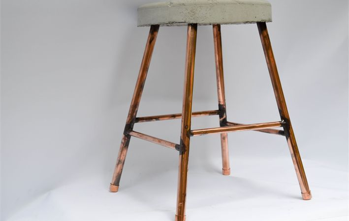 Makers Lane :: Concrete and Copper Stool Custom Made, Bespoke Furniture made in Australia.