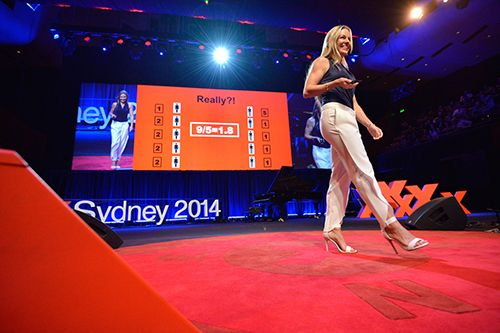 Dr Cresswell, who is researching the role of maths in society, speaking at TEDxSydney 2014. Image: Enzo Amato.