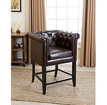 Lisette Leather Counter Stool, Dark Brown