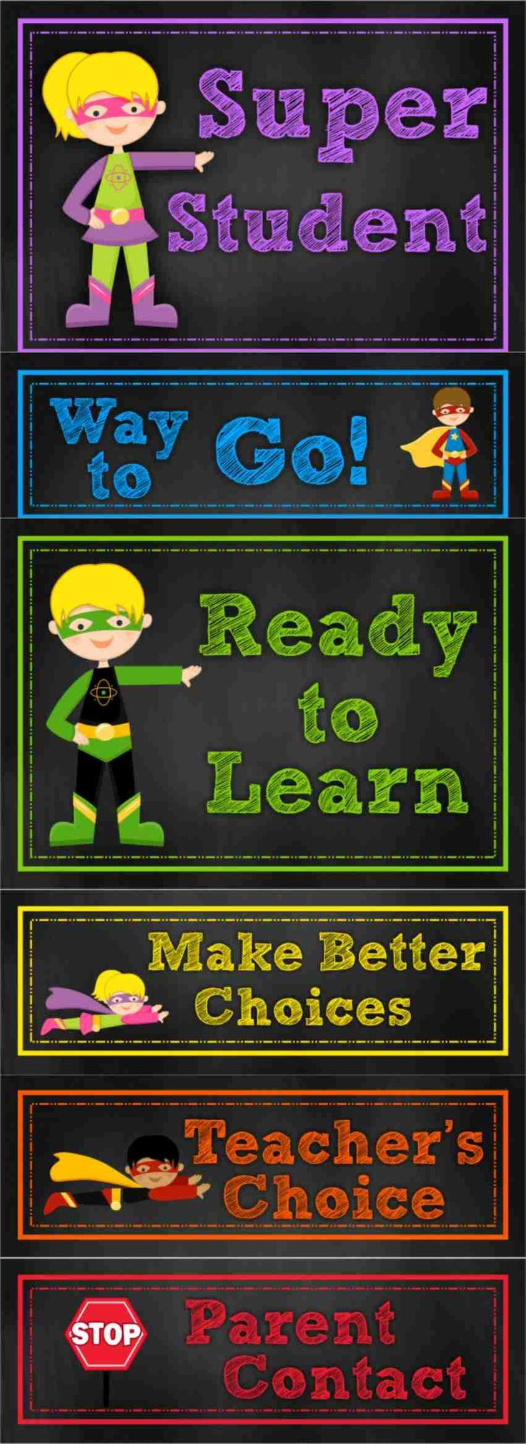 Chalk Posters - Superhero Behavior Clip Chart *Eli loved his class's version of this and wanted me to implement it at home.