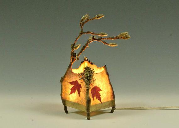 Twig Lamp: Etsy, Sherwood Handmade, Paper Lamps, Twig Lamp, Magnolia Twigs, Paper Leaves, Craft Ideas, Handmade Paper