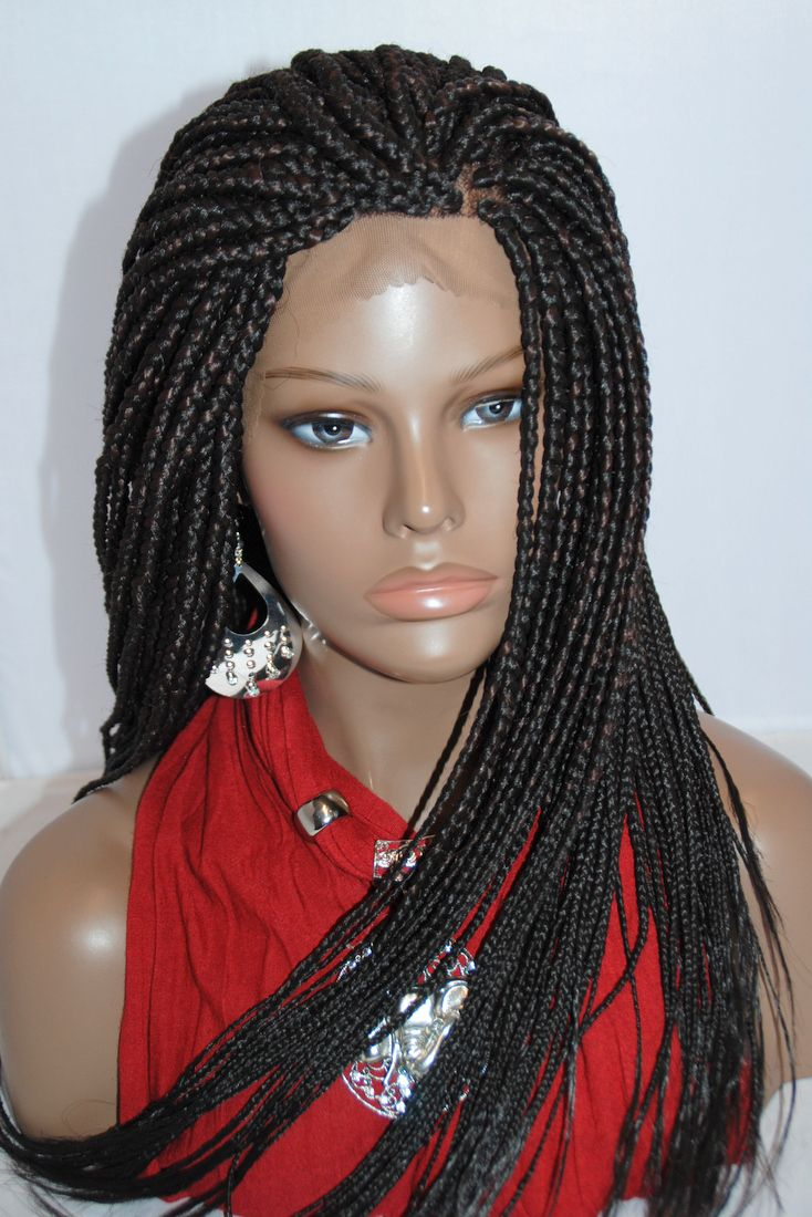 Fully Hand Braided Lace Front Wig Medium Braids Color 2 4