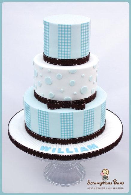 Blue and White Christening Cake
