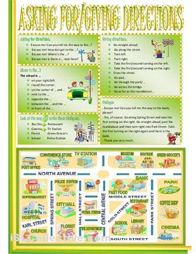 A simplified map of a city and a set of elementary level ESL activities on asking for and giving directions.