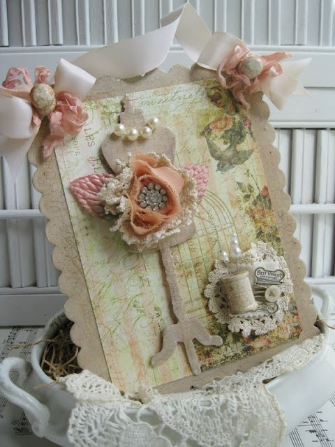 Stunning Shabby chic card ❤  very clever designer!!!