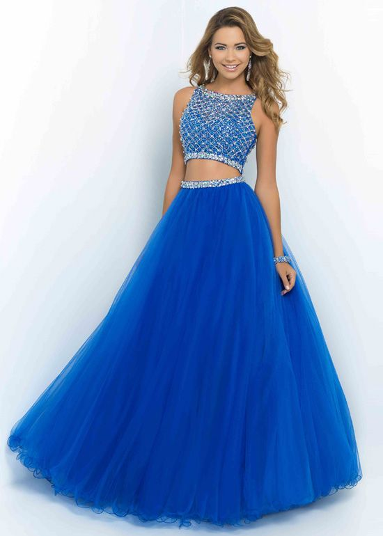 Brilliant Blue Two Piece Beaded High Neck Long Prom Dress