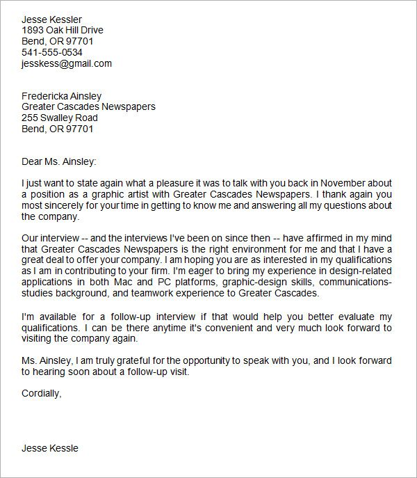 Thank You Letter After Interview Email Thank You Letter Template