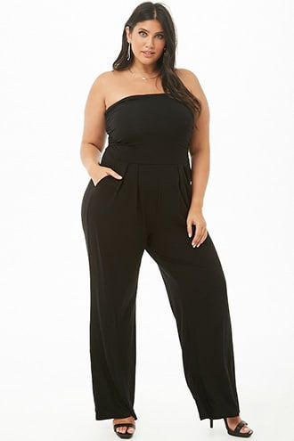 d12b58cb130b Plus Size Ruched Wide-Leg Tube Jumpsuit