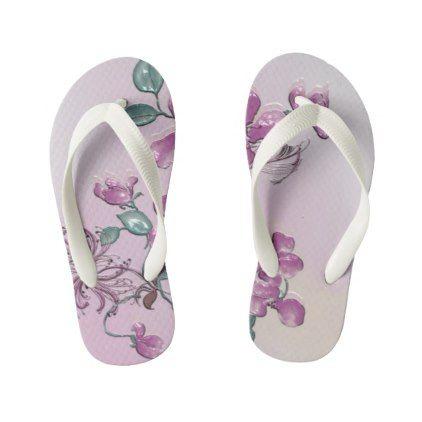 Custom Flip Flops Kids Kid's Flip Flops - flowers floral flower design unique style