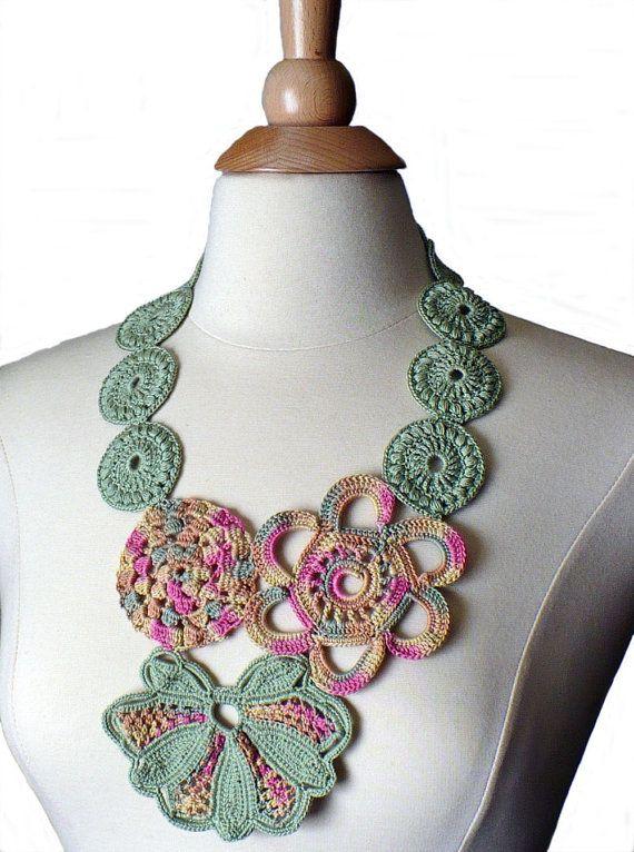 Crochet Necklace Irish Lace Crochet Flower Statement Necklace Pink Sage Ecru Pale Yellow