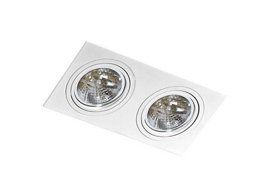 Lampa sufitowa wpuszczana techniczna biała SIRO 2 Azzardo GM2200 WH       Lampa wykonana jest z aluminium i metalu o wykończeniu w kolorze białym. Jej wysokość wynosi 2,5 cm, a długość 34 cm natomiast szerokość 17 cm. Należy w niej zastosować źródło światła typu AR111 o mocy max 50W. Lampa idealnie sprawdzi w nowoczesnych pomieszczeniach np. w salonie a nawet sypialni czy na korytarzach. Jej klasa szczelności wynosi IP 20.   Materiał wykonania: aluminium / metal Wymiary: wysokość 2,5