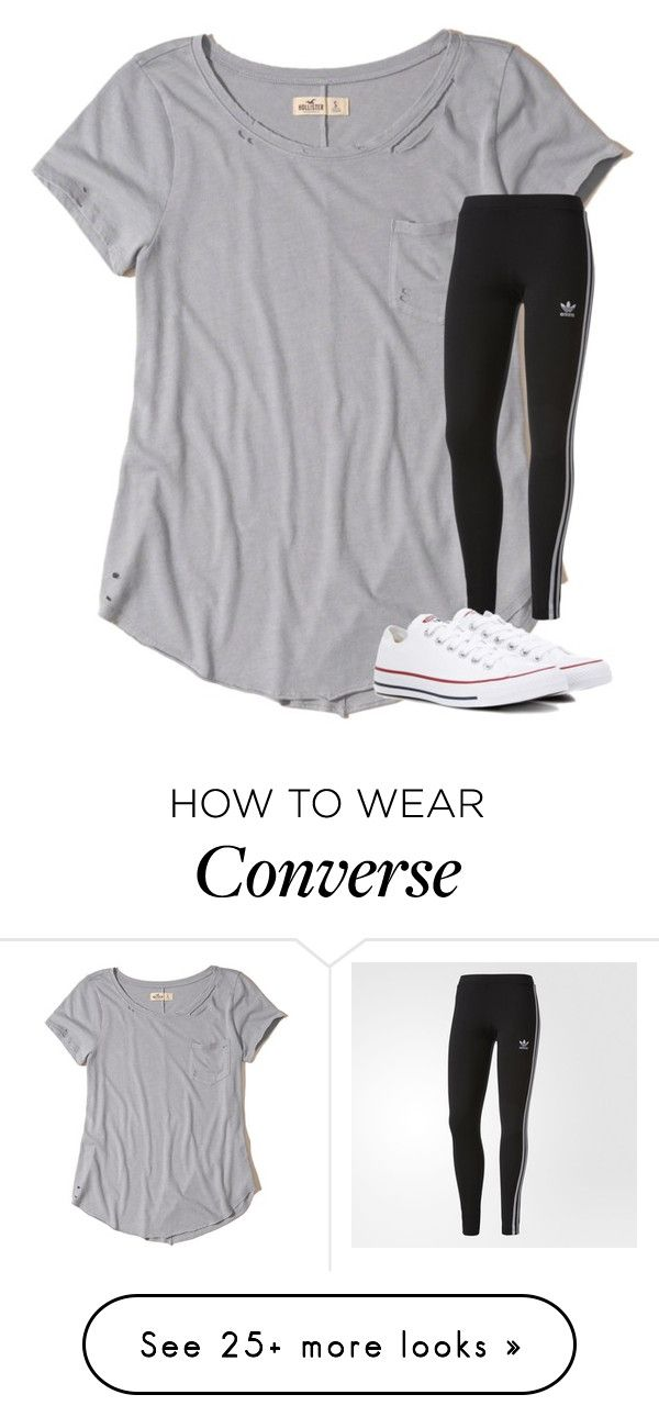 """""""Untitled #3560"""" by laurenatria11 on Polyvore featuring Hollister Co., adidas and Converse"""
