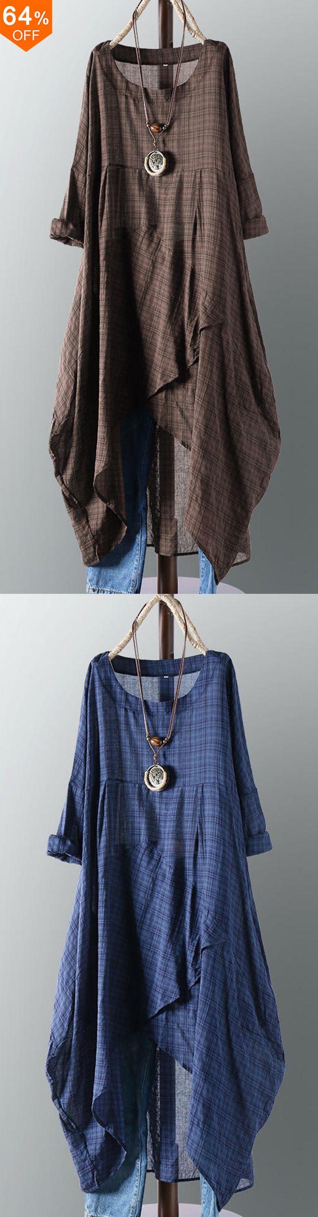【Get it】Vintage Women Cotton Pocket Plaid Solid Color Irregular Hem Maxi Dre... 3