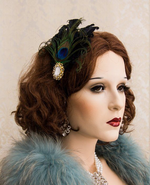 ae4f38c57 Feather Headband Great Gatsby Rhinestone Headpiece Black Feather and  Crystal Hair Clip