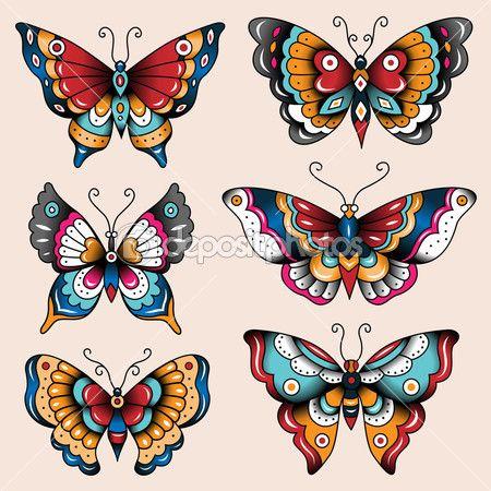 borboletas de arte escola tatuagem — Ilustração vetorial #51709645