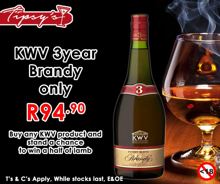 Buy any #KWV product from #TipsysLiquorBoutique and stand a chance to win half of a lamb. Get the 3 Year KWV Brandy for only R94.90. Prices valid until 1 August 2015 or while stocks last, T's & C's Apply, E & OE. Not for Sale to Persons Under the Age of 18. Drink Responsibly.
