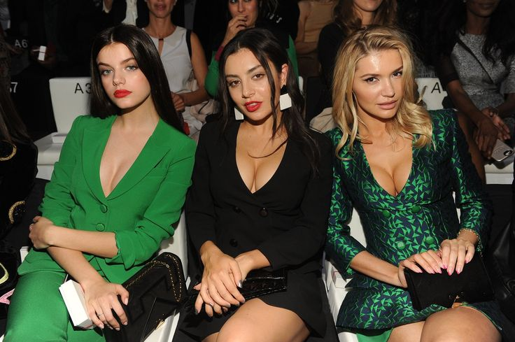 Sonia Ben Ammar, Charlie XCX and Anna Pavlova sitting front row at #EALiveInParis. #ArmaniStars