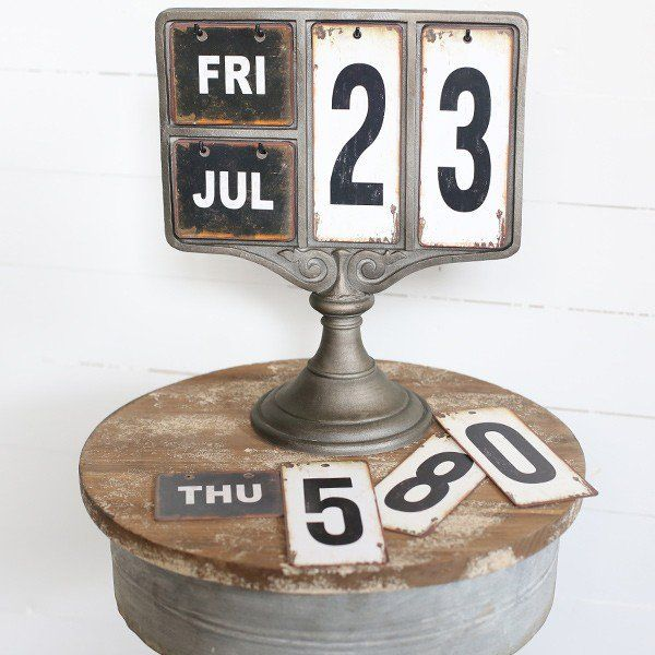 Our metal tag calendar is a standing decorative table calendar that has rustic details and industrial flair. Use this industrial calendar as a functional piece in any space. For more visit, www.decorsteals.com OR www.facebook.com/decorsteals