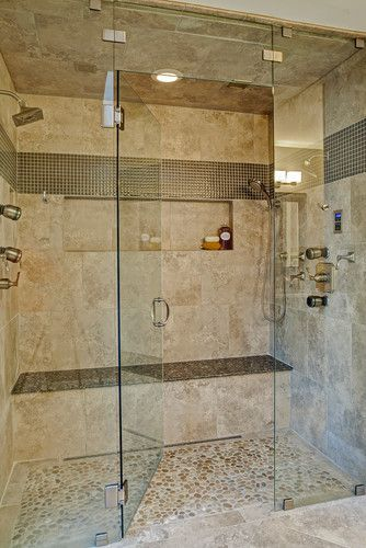 Large steam shower, long bench seat, large recessed niche, two person shower, two shower heads, body sprays, hand held shower, ceiling mounted speakers, trench drain, pebble floor, glass tile accent, curbless, walk-in shower, Case Remodeling of Charlotte, NC
