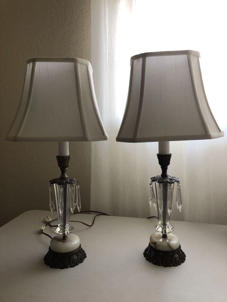 Vintage table lamp set of two brass marble hanging crystal ivory shade