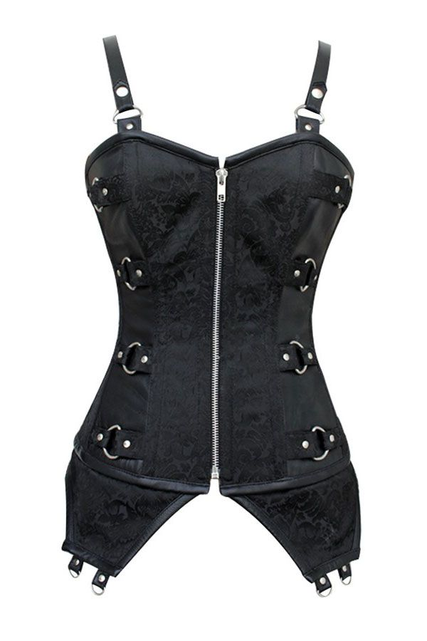 Black Zip Front Punk Corset with Adjustable Straps