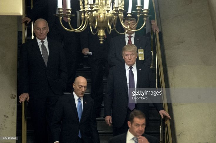 U.S. President Donald Trump, right, walks to a GOP conference meeting on tax reform at the U.S. Capitol in Washington, D.C., U.S., on Thursday, Nov. 16, 2017. Trump is rallying Republican members before their long-awaited vote on tax legislation, which is expected to take place in the afternoon. Photographer: Andrew Harrer/Bloomberg via Getty Images