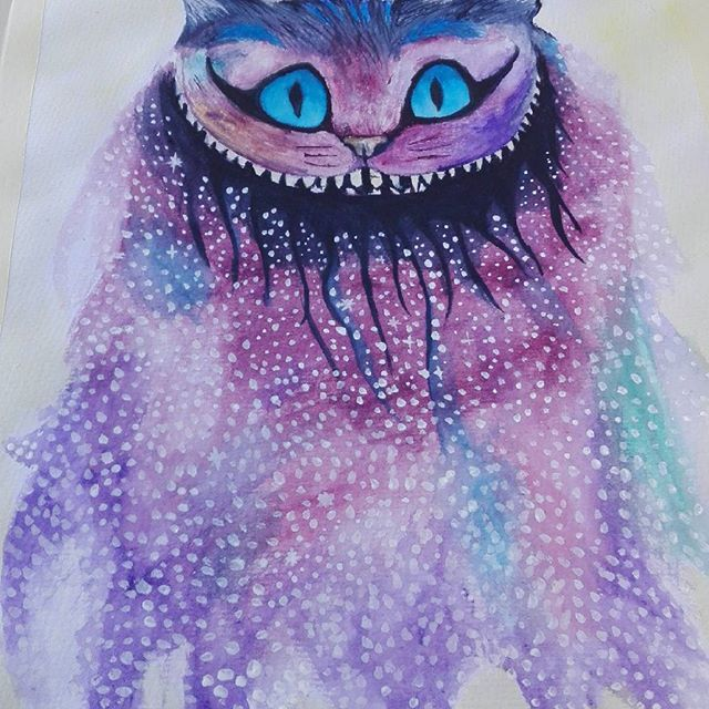 Cheshire cat — Alice in Wonderland.  #cheshirecat #watercolor #drawing #artwork #colorful #colors #artist #timburton #aliceinwonderland #wonderland #fanart