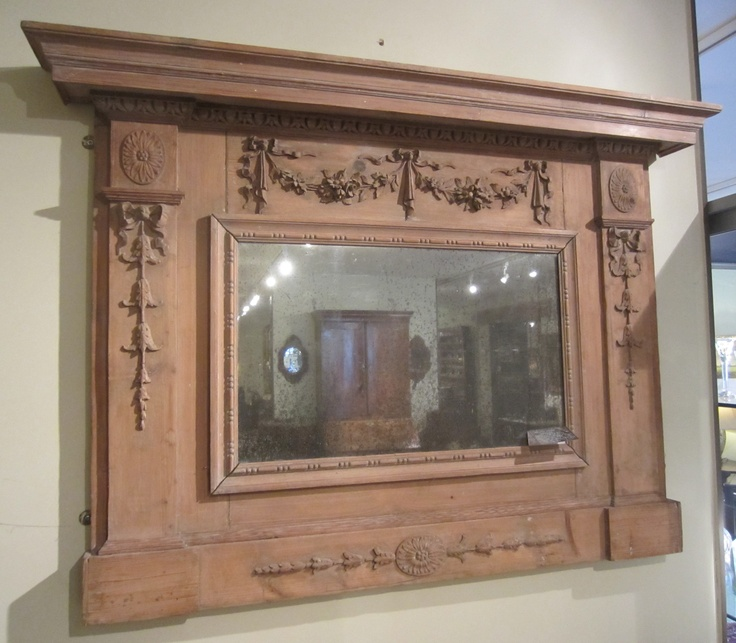 "NOW SOLD! Georgian Carved Pine Overmantel Mirror with egg & tongue cornice above ribbon tied floral swags, carved paterae & ribbon tied husks, having old but not original mirror plate.  All in carved wood [no gesso!].  Circa 1780, 51 1/2""max w at cornice, 37 1/4""h to top of cornice, 5 1/2""d at cornice, Main frame 44 1/2""w x 2""d,"