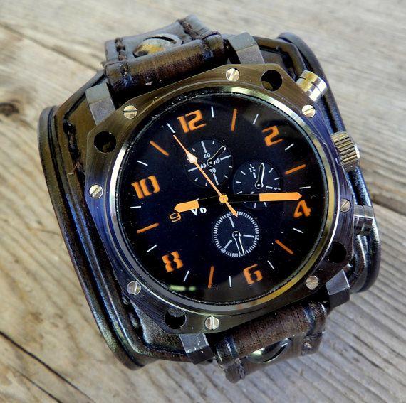 Leder-Watch-Manschette Herren beobachten von CuckooNestArtStudio