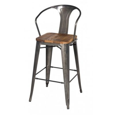Metroline Metal Counter Stool With Wood Seat In Gun Metal Via Four Chairs  Furniture