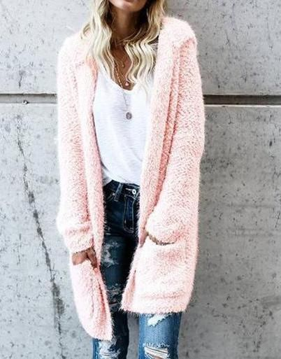 41413f33cc9 Soft and Fuzzy Pink Long Comfy Hooded Long-Sleeve Cardigan Jacket ...