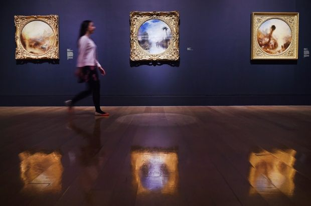 Paintings by British artist Joseph Mallord William Turner at a new exhibition looking at his final period of work from the age of 60 until his death