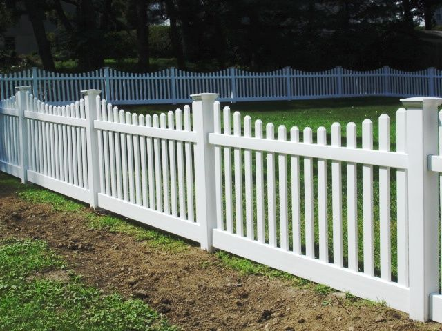 Scalloped vinyl picket fencing fence pinterest