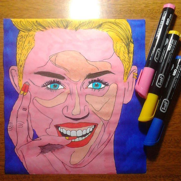 Con fibrones.   #Retrato #MileyCyrus #PinUp #Dibujo #Arte