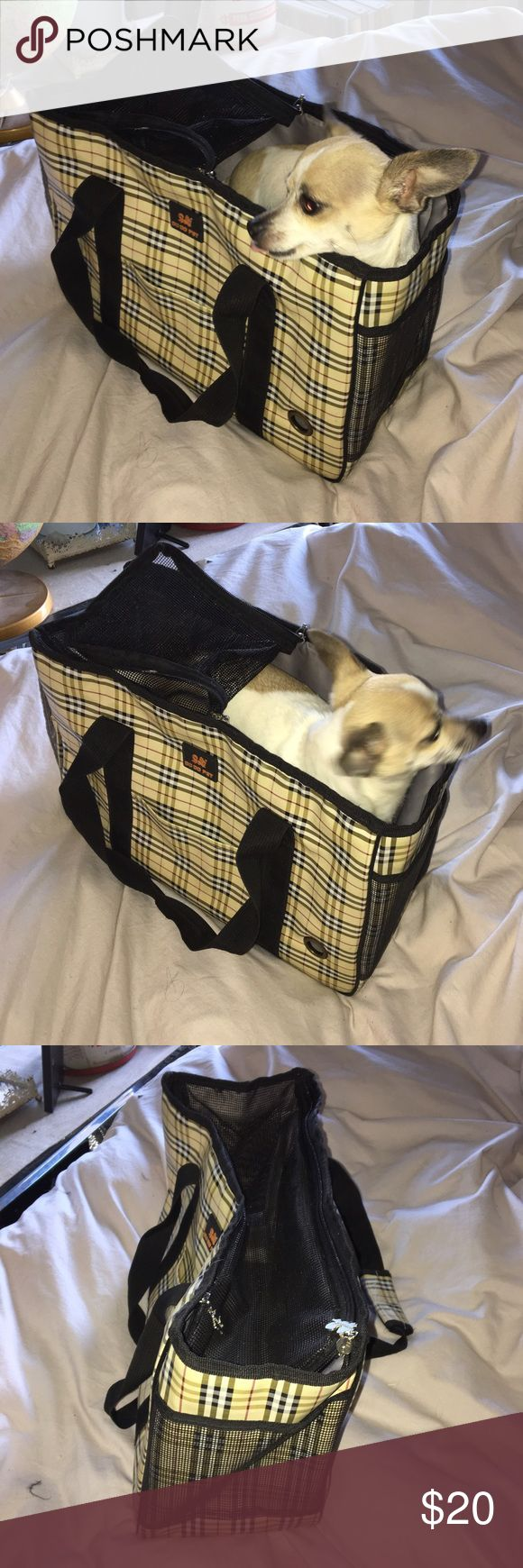 Small size dog pet travel bag Burberry print Great shape travel of for very small dog. Very sturdy has a water proof lining and carry straps. Awesome roll up front door for the dog to view out. Mesh top. Awesome plaid Burberry print. do do pet Bags Shoulder Bags