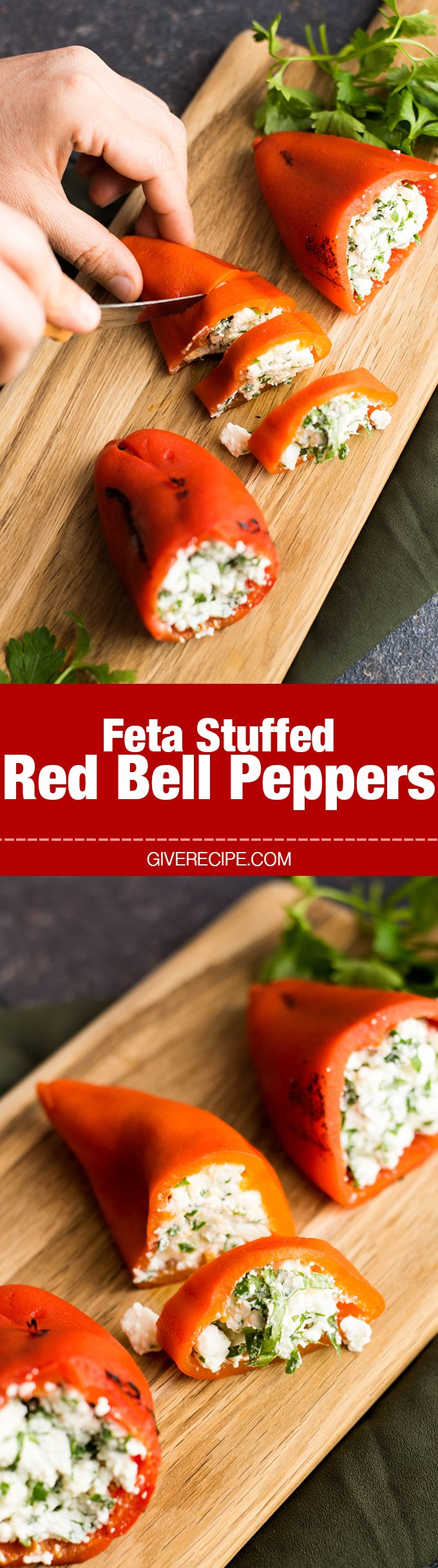 Roasted red bell peppers are stuffed with a mixture of feta, Greek yogurt, garlic and parsley. This would be amazing with poblano peppers, too!