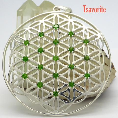 Flower of Life Pendant | 925 Sterling Silver | 19 Sapphire or Tsavorite Gemstones | Unite Male & Female God and Goddess energies | Material and Spiritual Wealth | Crystal Heart